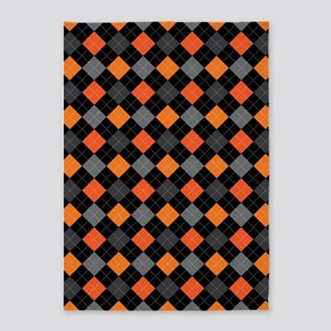 Pumpkin Charcoal Argyle 5'x7'Area Rug