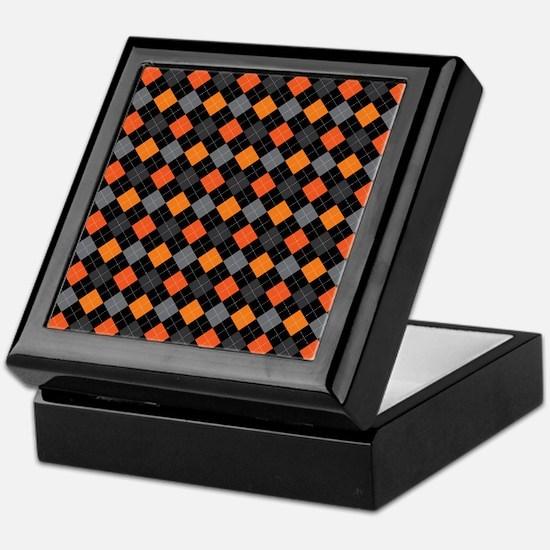 Pumpkin Charcoal Argyle Keepsake Box