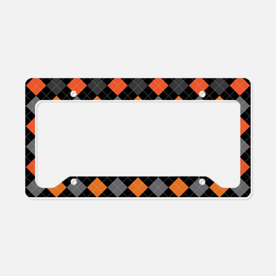 Pumpkin Charcoal Argyle License Plate Holder