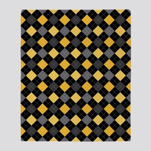 Yellow Charcoal Argyle Throw Blanket