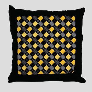 Yellow Charcoal Argyle Throw Pillow