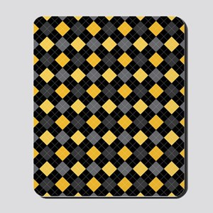 Yellow Charcoal Argyle Mousepad