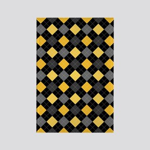 Yellow Charcoal Argyle Rectangle Magnet