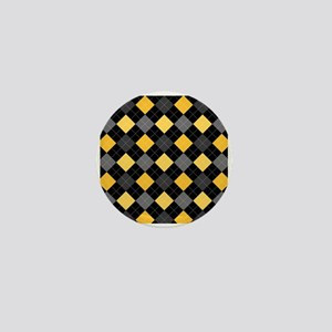 Yellow Charcoal Argyle Mini Button
