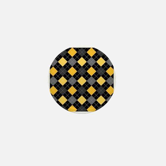 Yellow Charcoal Argyle Mini Button