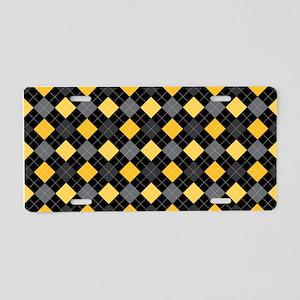 Yellow Charcoal Argyle Aluminum License Plate