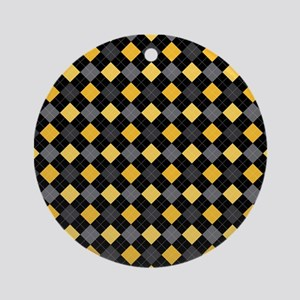 Yellow Charcoal Argyle Ornament (Round)