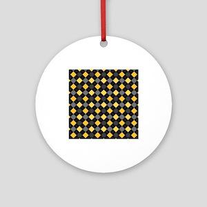 Yellow Charcoal Argyle Ornament (Round)
