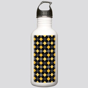 Yellow Charcoal Argyle Stainless Water Bottle 1.0L
