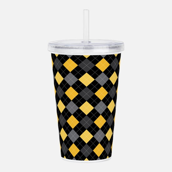 Yellow Charcoal Argyle Acrylic Double-wall Tumbler