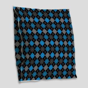 Blue Charcoal Argyle Burlap Throw Pillow
