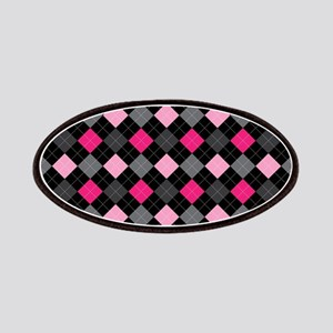 Pink Charcoal Argyle Patches