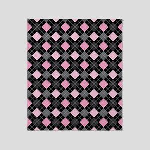 Pink Charcoal Argyle Throw Blanket