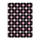 Pink black argyle Area Rugs