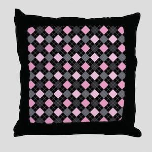 Pink Charcoal Argyle Throw Pillow