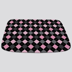 Pink Charcoal Argyle Bathmat