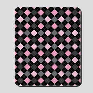 Pink Charcoal Argyle Mousepad