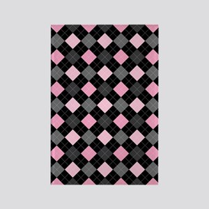Pink Charcoal Argyle Rectangle Magnet