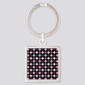 Pink Charcoal Argyle Square Keychain