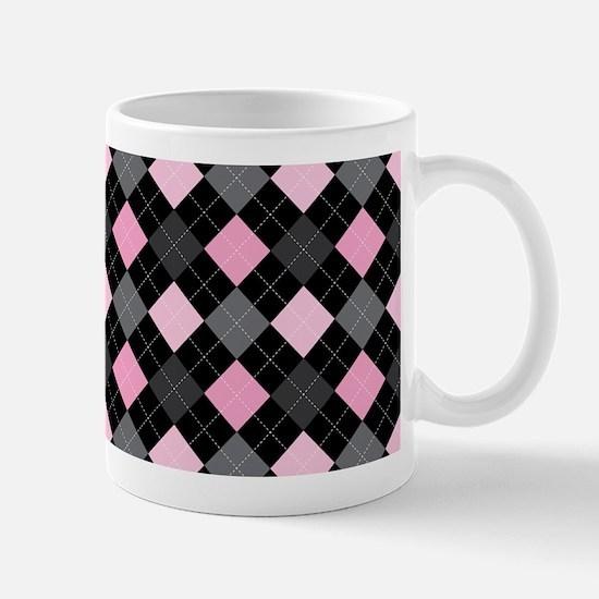 Pink Charcoal Argyle Mug