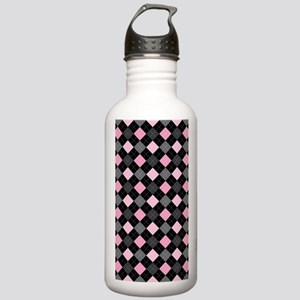 Pink Charcoal Argyle Stainless Water Bottle 1.0L