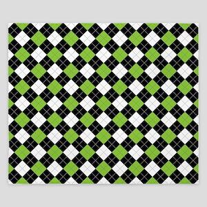 Green White Argyle King Duvet