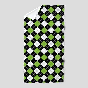Green White Argyle Beach Towel