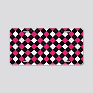 Pink White Argyle Aluminum License Plate