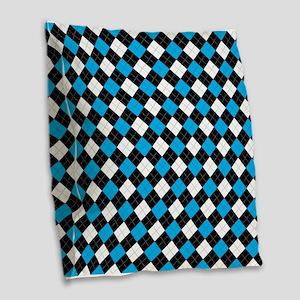 Blue/Black Argyle Burlap Throw Pillow