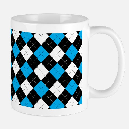 Blue/Black Argyle Mug