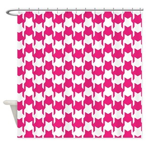 Pink Houndstooth Shower Curtains
