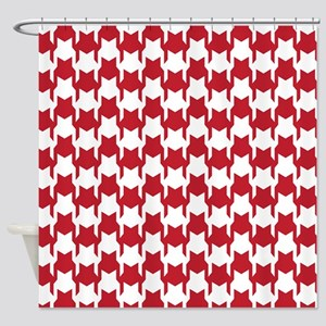 Red Houndstooth Shower Curtain