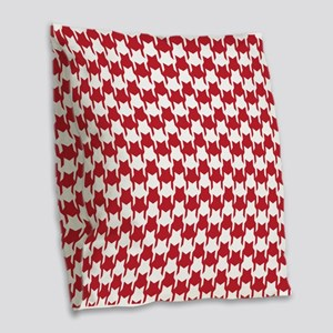 Red Houndstooth Burlap Throw Pillow