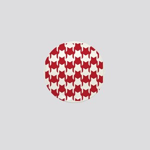 Red Houndstooth Mini Button