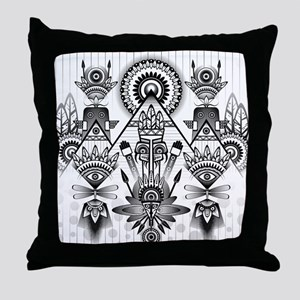 Abstract Ancient Native Indian Throw Pillow