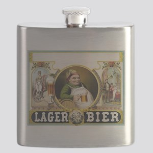 Vintage Lager Beer Advertisement Flask