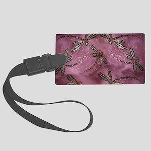 Dragonfly Dusky Rose Large Luggage Tag