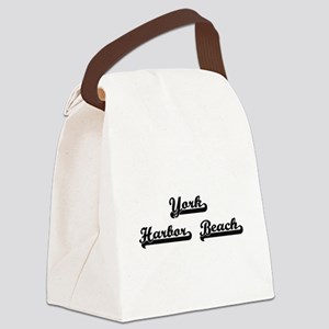 York Harbor Beach Classic Retro D Canvas Lunch Bag