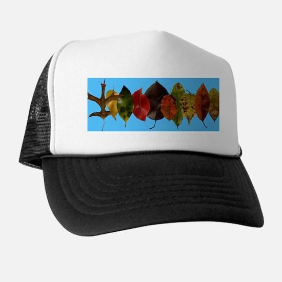 Autumn leaves on sky blue Trucker Hat
