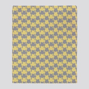 Yellow Gray Houndstooth Throw Blanket