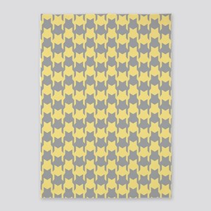 Yellow Gray Houndstooth 5'x7'Area Rug