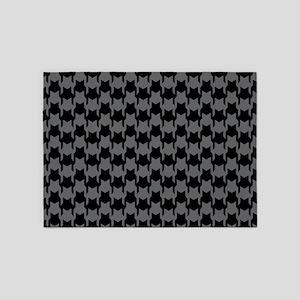 Black Gray Houndstooth 5'x7'Area Rug