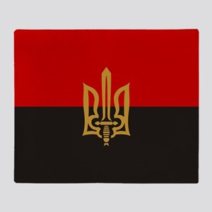 Stylized Tryzub And Red-Black Flag Throw Blanket