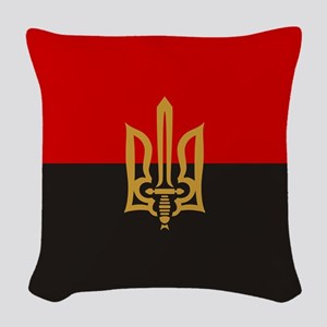 Stylized Tryzub And Red-Black Woven Throw Pillow