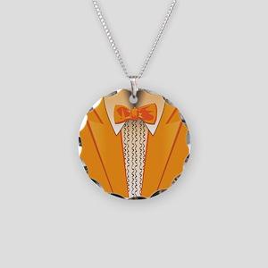 Orange Tuxedo Necklace Circle Charm