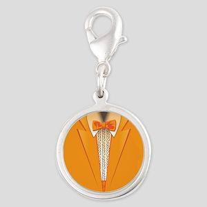 Orange Tuxedo Silver Round Charm