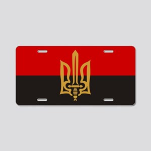 Stylized Tryzub And Red-Bla Aluminum License Plate