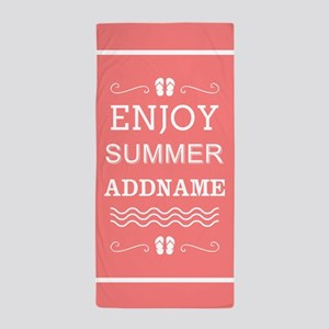 Coral and White Enjoy Summer Personali Beach Towel