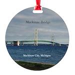 Mackinac Bridge From Mackinaw City Round Ornament