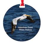 American Great White Pelican Round Ornament
